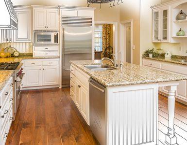 Projeto arquitetônico de uma cozinha
