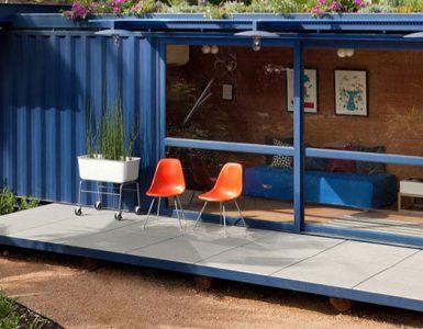 Casa container azul com vidros